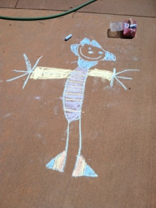 Anderson's chalk drawing at age 5